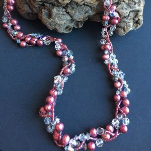 Jewelry - Clear Crystal & Pink Pearl Necklace